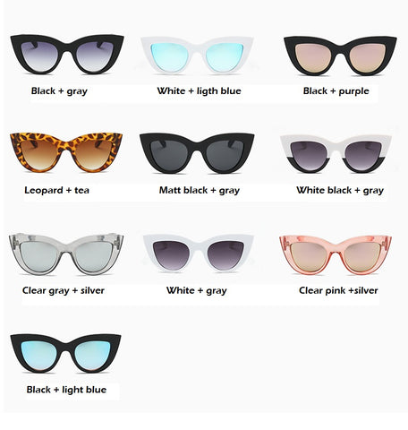 Women Cat Eye Sunglasses Matt black  Brand Designer Cateye Sun glasses For Female  clout goggles UV400