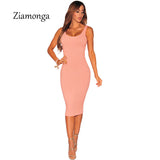 Women Sexy Knitting Dress 2017 Sexy Slim Bodycon Dresses Elastic Skinny Midi Party Dresses Brief Tank Pink Black Dress