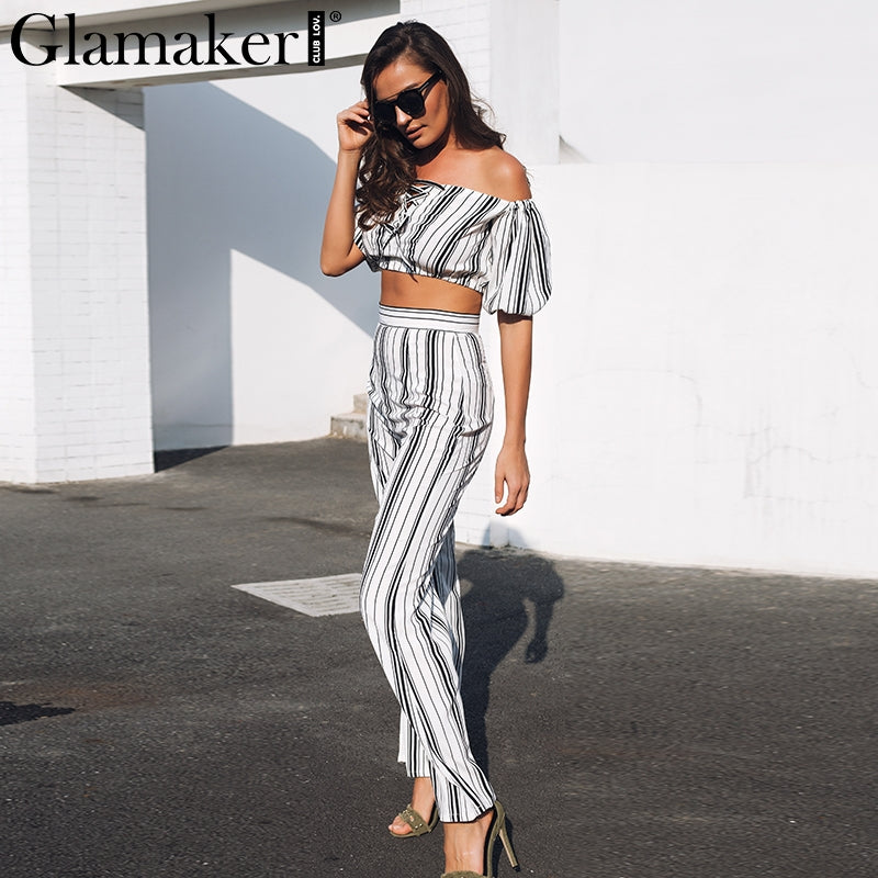 Off Shoulder Lace Up Stripe Jumpsuit Romper Women Two Pieces Crop Loose Long Wide Leg Overalls