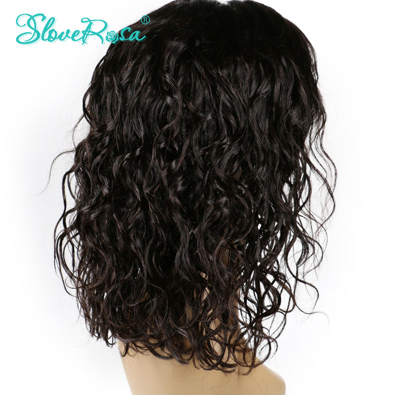 Glueness Curly Short Bob Lace Front Wigs With Full End Remy Brazilian Human Hair Wigs Combs And Adjust Straps Slove Rosa Product