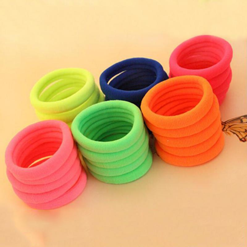 Random Color 50pcs Set Ultra High Elastic Rubber Band Hair Rope Hairba