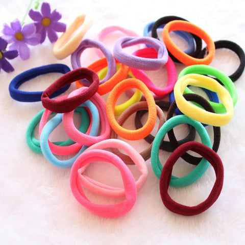 Random Color 50pcs Set Ultra High Elastic Rubber Band Hair Rope Hairband High Quality