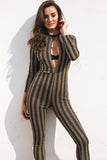 Hollow Out Stripe Jumpsuit Romper Women Bright Silk Slim Bodycon Long Playsuit Overall