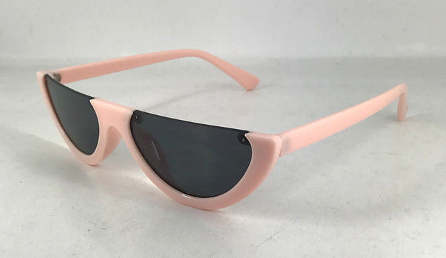 2018 Unique Half Frame Women Cat Eye Sunglasses Brand Designer Fashion Ladies Pink Tint/Clear Lens Shades - Style Lavish