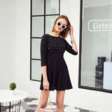 Pearl Embellished Party Dress Zip Fit & Flare Women Black 3/4 Sleeve Skater Dresses Elegant Mini Dress