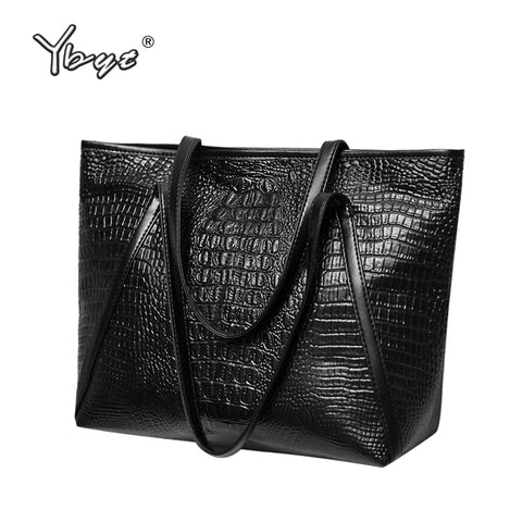d1fa25c96bc5 Fashion asual glossy alligator totes large capacity ladies simple shopping handbag  PU leather shoulder bags