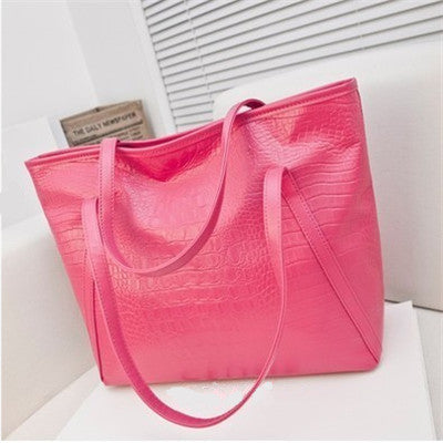 Fashion asual glossy alligator totes large capacity ladies simple shopping handbag PU leather shoulder bags - Style Lavish