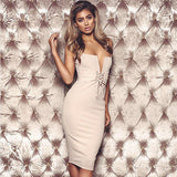 Women's Lace-up V-neck Bandage Bodycon Sleeveless Pencil Solid Dress