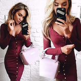Women Bodycon Sheath Dress Long Sleeve Dresses Back Full Button Pencil Tight Dress