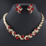 Wedding dress jewelry set for charm of women red black white necklace earrings set of chain