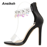 Rhinestone PVC Transparent Stiletto Sandals Shoes Crystal Ankle Wrap Lady High Heels Shoes