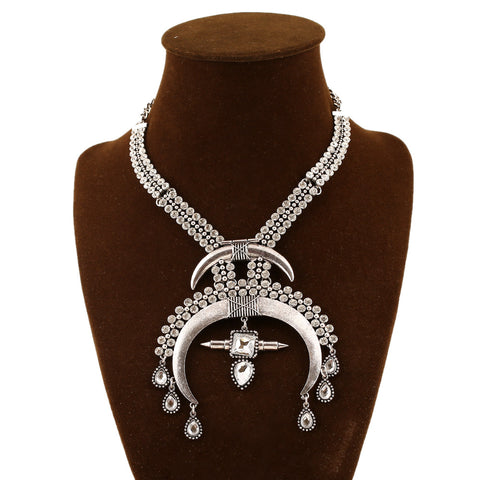 Women Vintage Rhinestone Crystal Moon Necklace Brand Maxi Statement Necklaces & Pendants