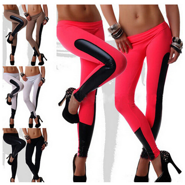 Women Fitness Tights Leggings  Fashion Pu Leather Stitching Leggings