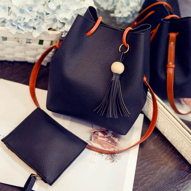 JOFEANAY 2017 New Korean Fashion Tassels Bead Soft Litchi Bag Composit Bags For Women Tote Crossbody Shoulder factory wholesale