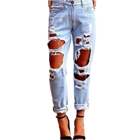 Slim Hole Ripped Jeans for Women Mid Waist Denim Plus Size fashion Pants Blue 2017 Casual Design ladies Pencil Trousers 100%