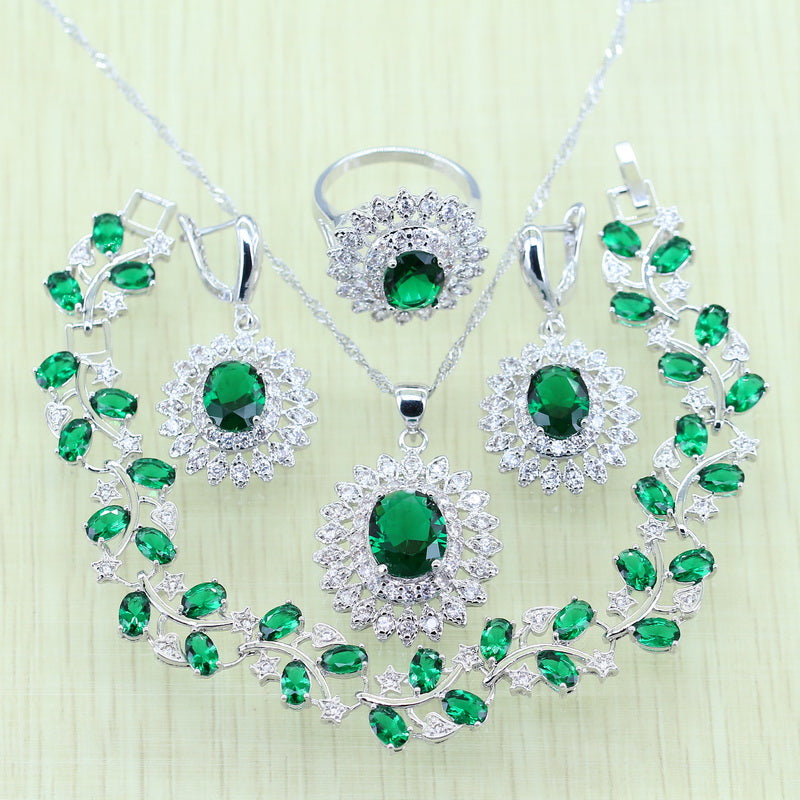 925 Logo Green Rhinestone White  Crystal Silver color Jewelry Set For Women Bracelets Necklace Earrings Ring Pendant - Style Lavish