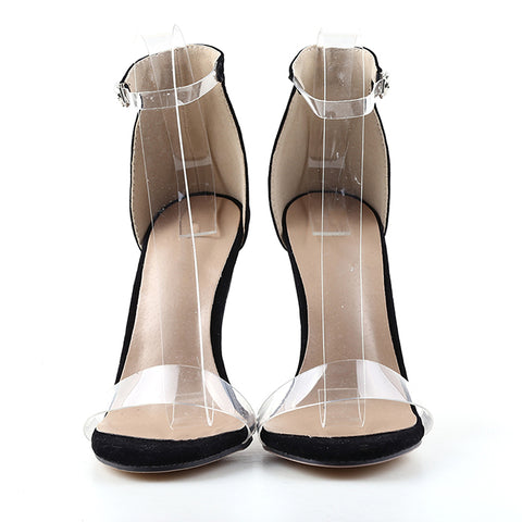 PVC Women Platform Sandals Super High Heels Waterproof Female Transparent Crystal Wedding Shoes
