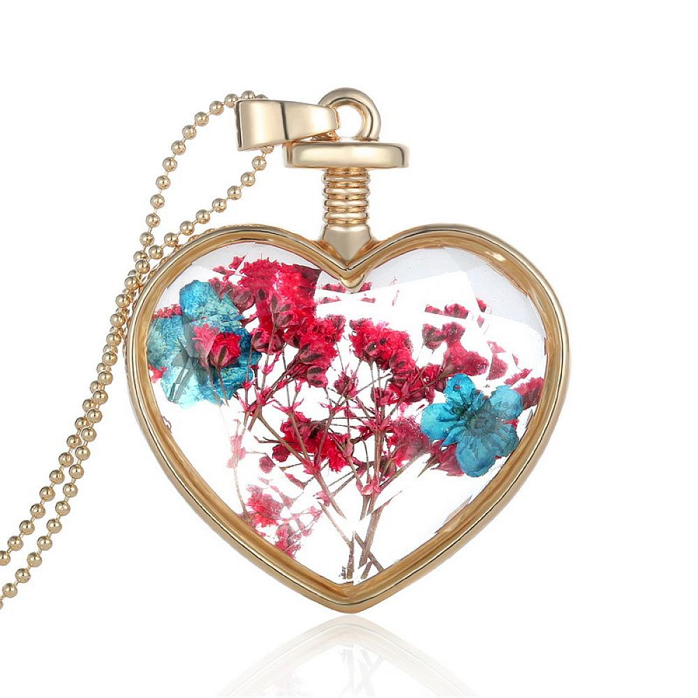Fashion Romantic Crystal Glass Heart Necklace Floating Locket Pendant  Dried Flower Plant Jewelry for Women - Style Lavish