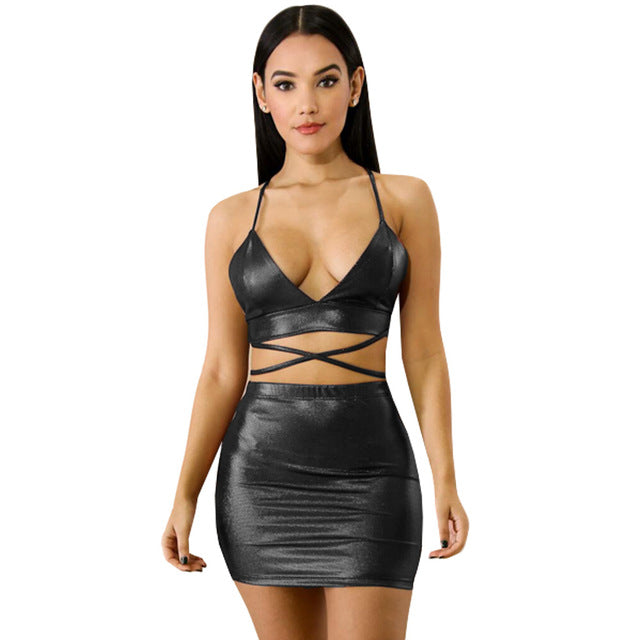 Summer Lace Up Two Piece Dress Set Women Straps V Neck Bodycon Dress Bronzing Backless Bandage  Mini Dresses