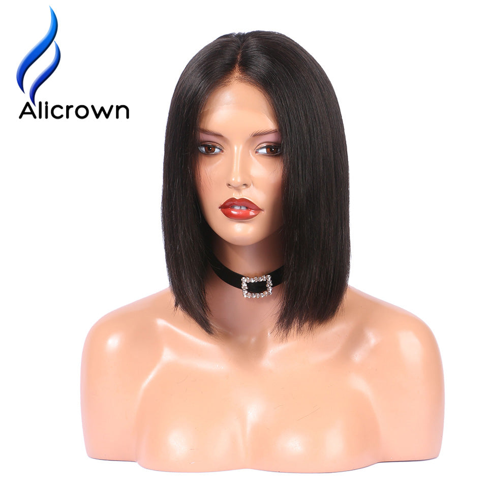 Alicrown Lace Front Human Hair Wigs Pre Plucked Straight Full End Brazilian Remy Hair Short Bob Wigs Bleached Knots Middle Part - Style Lavish