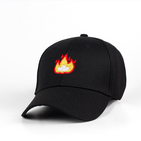 Fashion Flame Cotton Hat Embroidery Baseball Hat Hip Hop Caps 100% Cotton Men Women Cap Adjustable For Sun Hat - Style Lavish