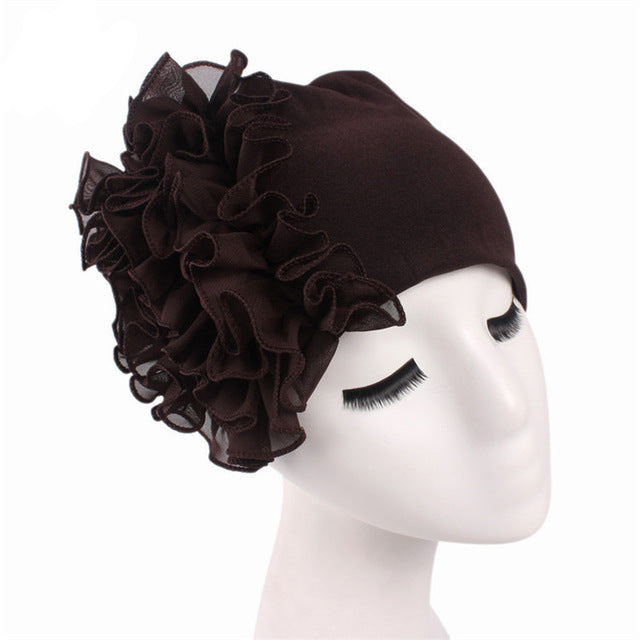 Autumn Winter Turban Hair Bands Indian Hat Chiffon Flower Chemo Cap Headwrap  Elastic Headbands Hair Accessories - Style Lavish