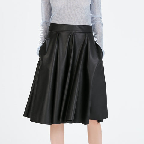 0fba61ea1bb5 PU Faux Leather A-line Midi Women Autumn Solid Mid-calf Pleated Skirt With  Pockets Skirts