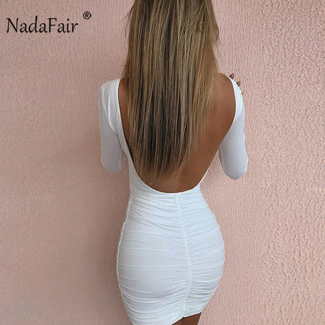Nadafair Backless Long Sleeve Wrap Bodycon Low Cut Sexy Club Dress Women White Black Mini Party Dress