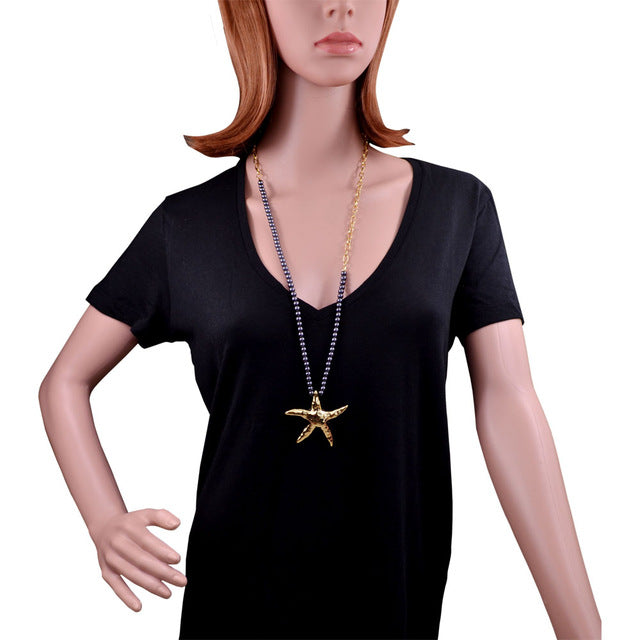 32 inch Starfish Necklace Asymmetric Length Glass Imitation Pearl Chain Gold Plating Vivid Seastar Necklace - Style Lavish