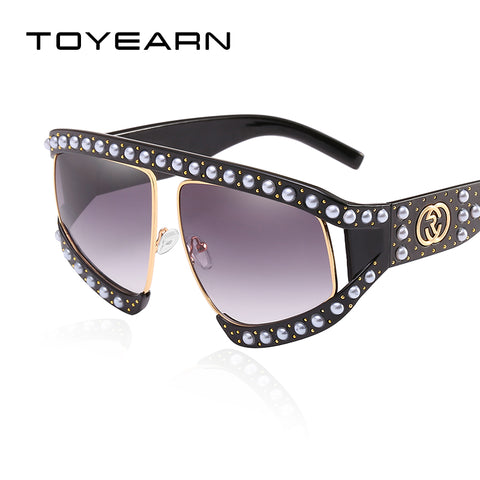 c23a03e09eb8 Luxury Brand Design Ladies Hollow Oversized Sunglasses Women Vintage Big  Pearl Frame Sun Glasses UV400