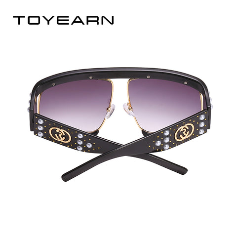 Luxury Brand Design Ladies Hollow Oversized Sunglasses Women Vintage Big Pearl Frame Sun Glasses UV400