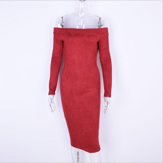 Women Casual Clothes Autumn Spring Suede Solid Brown Red Green Slim Fit Long Sleeve Skinny Midi Dress