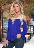 Women Blouse Shirt Top Solid Floral Lace Off Shoulder Shirt  Long Sleeve Loose Casual Top
