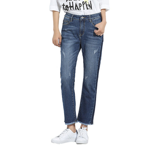 Women Jeans  Side Shawdow Mid Waist Loose Straight Jeans Panelled ants