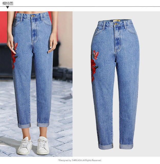 Woman Jeans Apparel Women Jeans High Waist 3d Flower Embroidery Straight Denim Pants Bottom