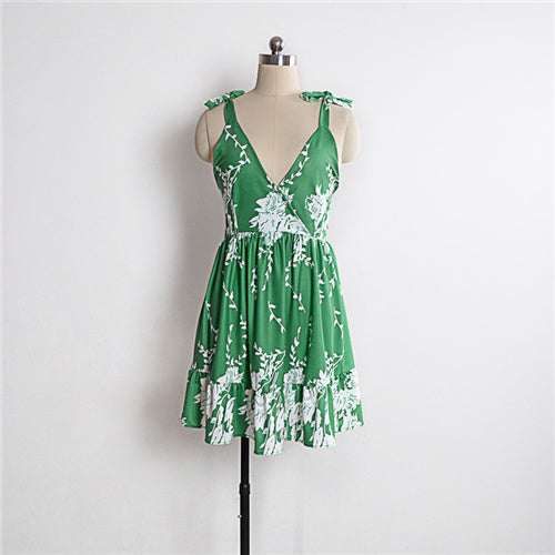 Spaghetti Strap V-Neck Backless Sexy Dress Women Summer Dress 2018 Print Pleated Dress Sleeveless Ruffles Hem Mini Beach Dresses