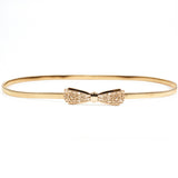 women metal belt Bowknot chain Fashion metal buckle thin elastic waist gold women skinny belt