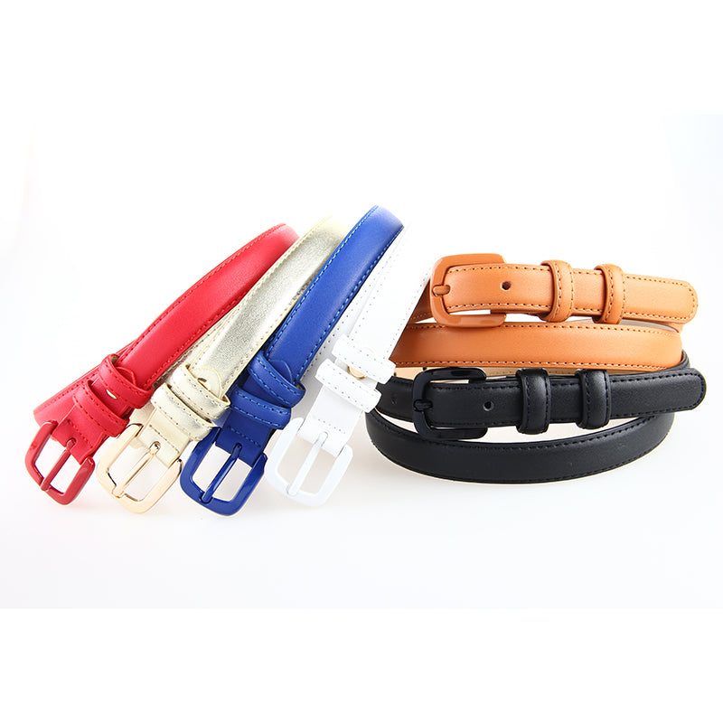 Good Quality Womans Genuine Leather Skinny Belt Thin Waist Belt Straps Narrow Cowhide Designer Belts Pin Belt Ladies For Jeans