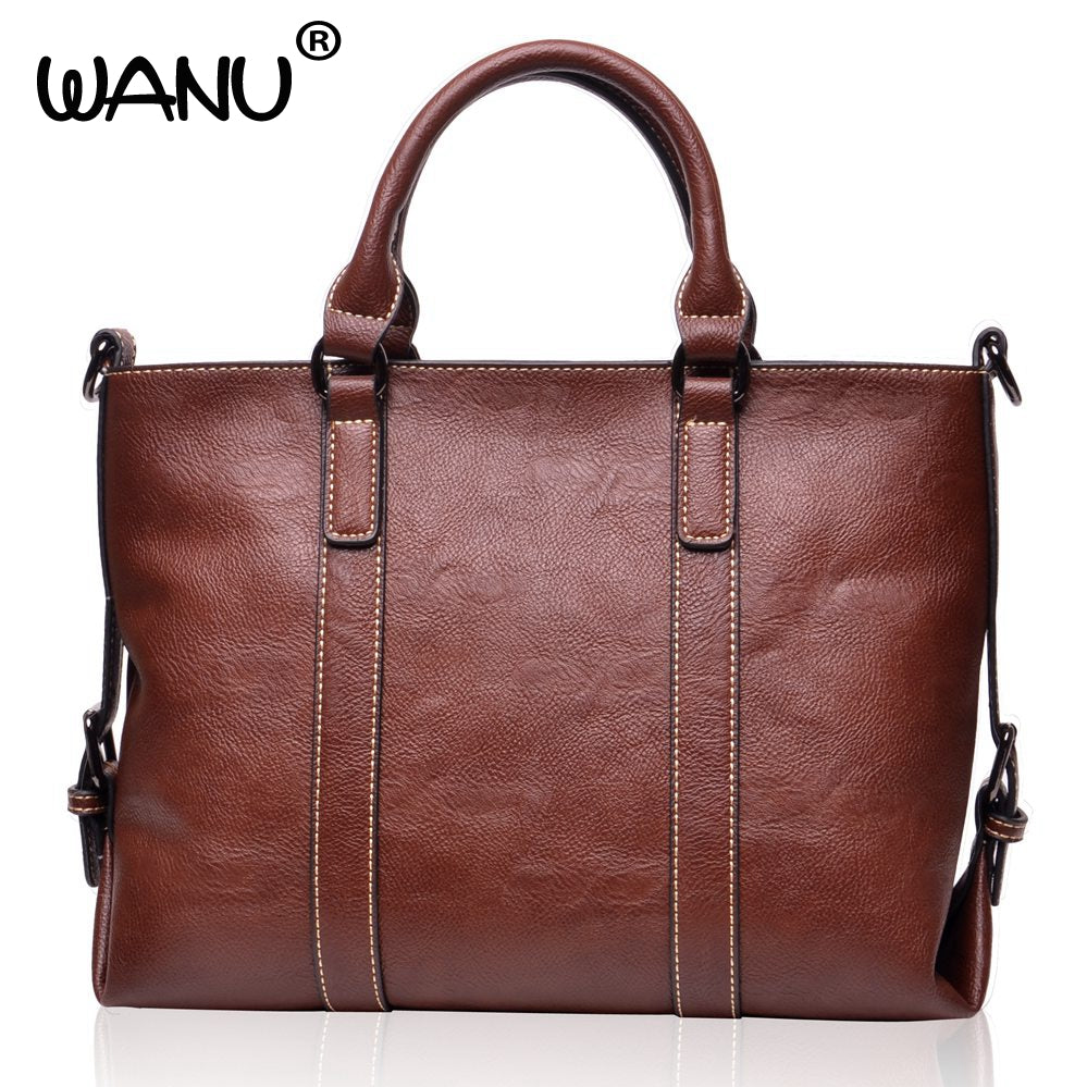 WANU Brand Women's Leather Shoulder Bag Soft Handbag and Tote Casual Female Purse women crossbody bags gift for wife girl friend