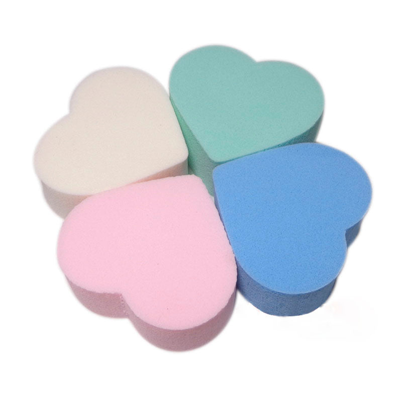 40pcs Heart Shaped Sponge Makeup Puff Cosmetic Blender Foundation Blusher Puffs Powder Face Cleaning Beauty Tools Random Color - Style Lavish