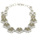 l Smokey Quartz Flower White CZ Woman'S 925 Silver Bracelet 8.5
