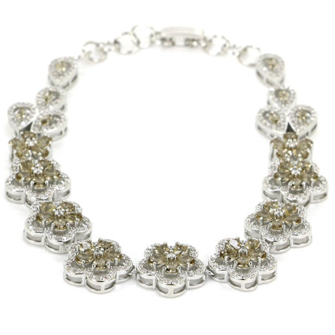 "l Smokey Quartz Flower White CZ Woman'S 925 Silver Bracelet 8.5"" 15x15mm"
