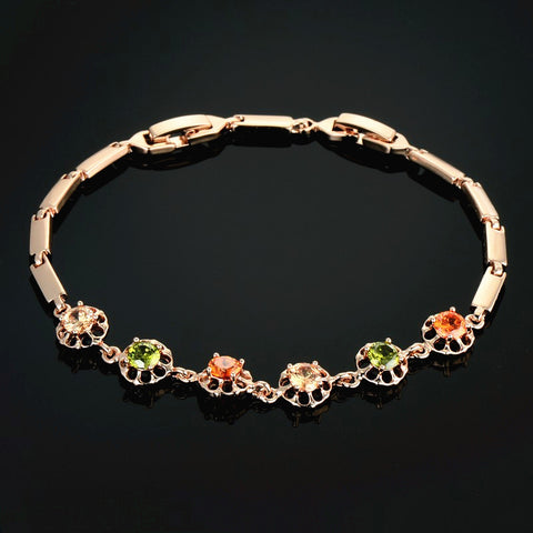Women Jewlery Bracelet Braslet 22cm Gold Color Luxury Paved Cubic Zirconia Charm Bracelets & Bangles