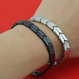 Bagle Fashion Black Silver Women Men's Power 18 Germanium Energy 316L Stainless Steel Bracelet - Style Lavish