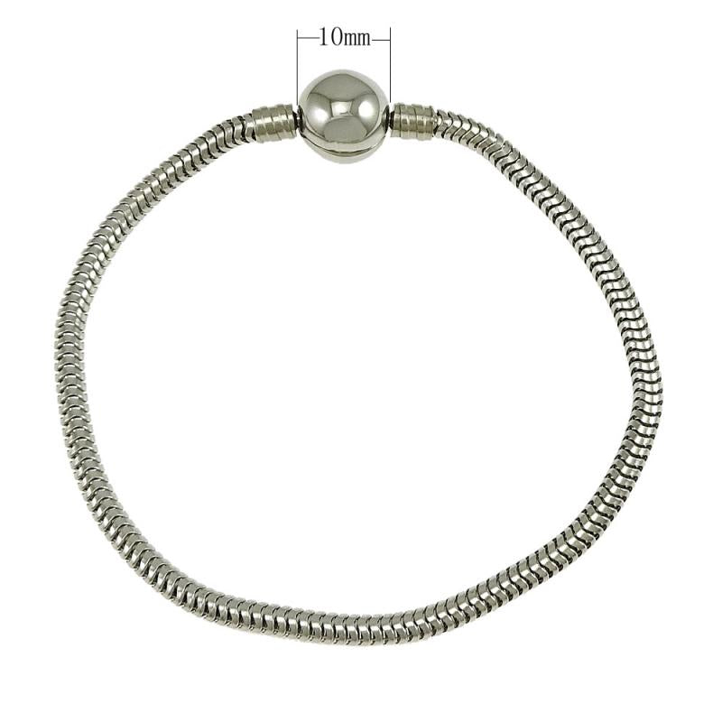 Fashion Silver Tone Stainless Steel Snake Chain European Charm Bead Fit Bracelet Bangle Jewelry For Women 20Strands/Lot - Style Lavish
