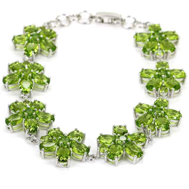 Flower Green Peridot Woman's 925 Silver Bracelet 8.5inch 18mm