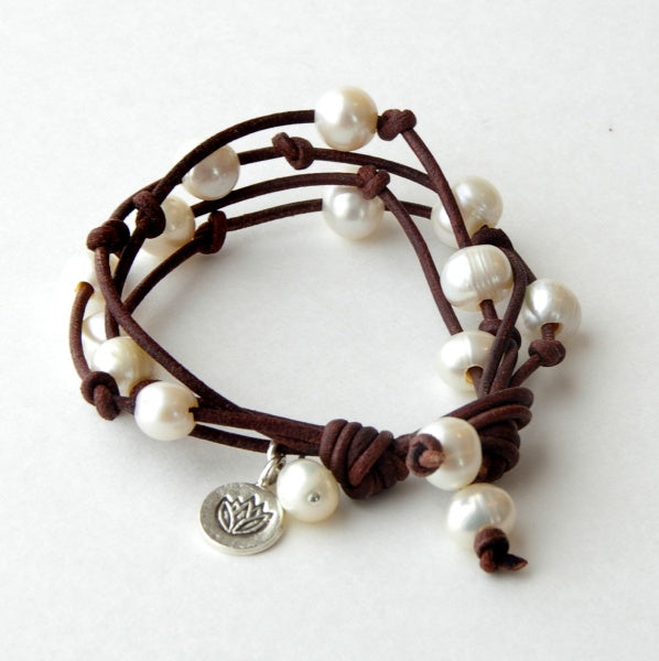 Strand Bracelets Women Leather Bracelet Rustic Leather Multistrand Freshwater Pearls Real Lotus Flower Charm