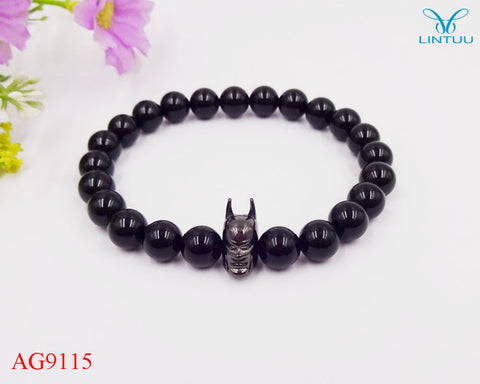 12pcs lot 8mm A Grade Black Onyx Stone Fashion Roman Knight Batman Bracelet Fine Men Women Party Gifts 2017 - Style Lavish
