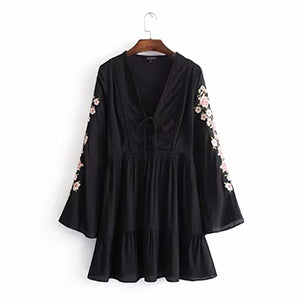 Spring Dress Long Sleeve Floral Embroidery Bohemian Beach Dresses For Women Cotton Boho Hippie Gypsy Tunic