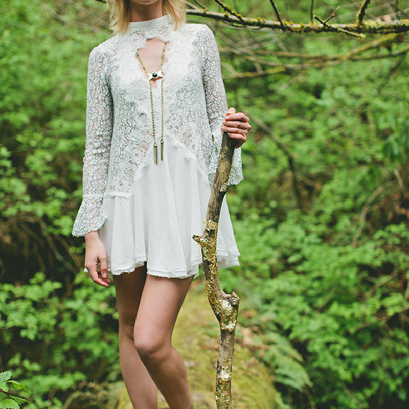 Spring Mini Dress Long Sleeve Crochet Sheer Dress Boho Chic Women Lace Dresses Beach Hippie Gypsy Tunic